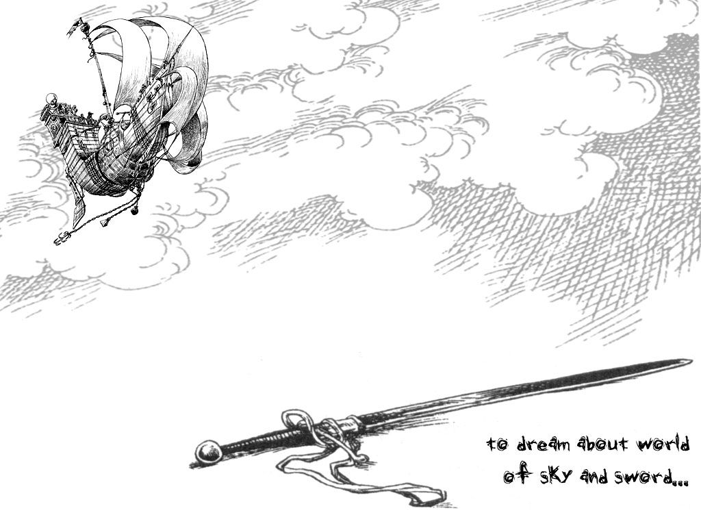 Skyship and sword, from Chris Riddell and Paul Stewart's
