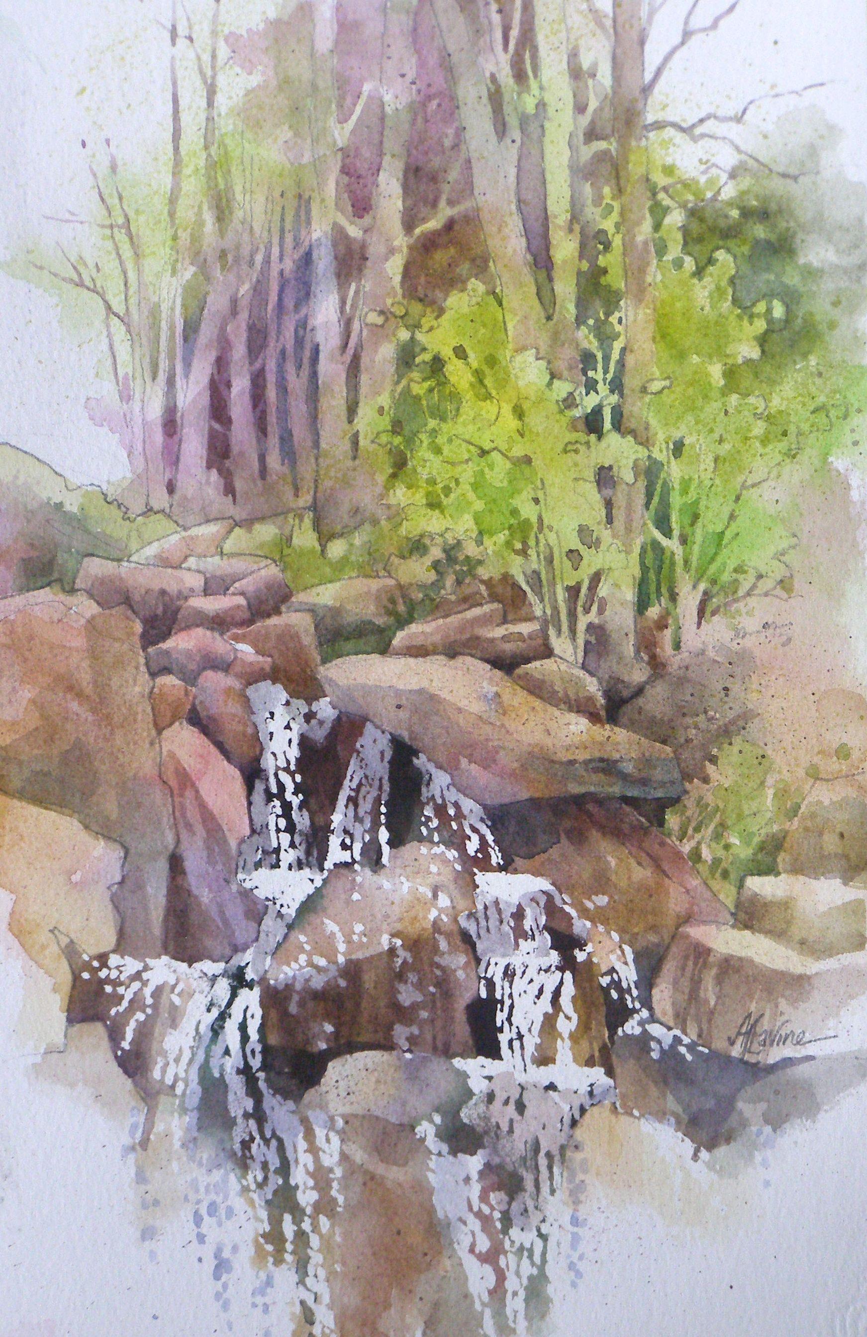 Cascade At The Bog Garden 325 00 Framed Watercolor Landscape