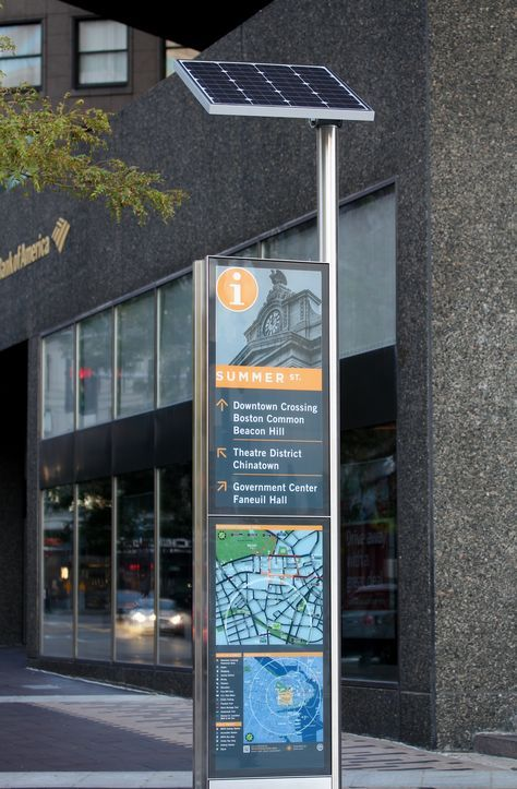 Boston Wayfinding Featuring Stainless Steel And Solar Powered Kiosks Design By Omloop Engineering And Fabricatio Signage Design Wayfinding Wayfinding Signage