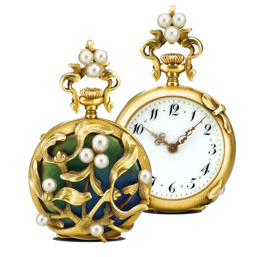 C. H. Meylan, Brassus - A FINE ART NOUVEAU YELLOW GOLD, ENAMEL AND PEARL SET OPEN-FACED KEYLESS LEVER FOB WATCH CIRCA 1910.
