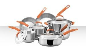 Rachael Ray 10 Piece Stainless Steel Cookware Set Free Returns