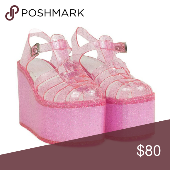 cda79b41bd39 UNIF Hella Jelly Pink Glitter Platform Sandals 7 Size 7 UNIF Hella Jellies  in pink sparkle! Sold out online! Tried on around the house, but not worn-  ...