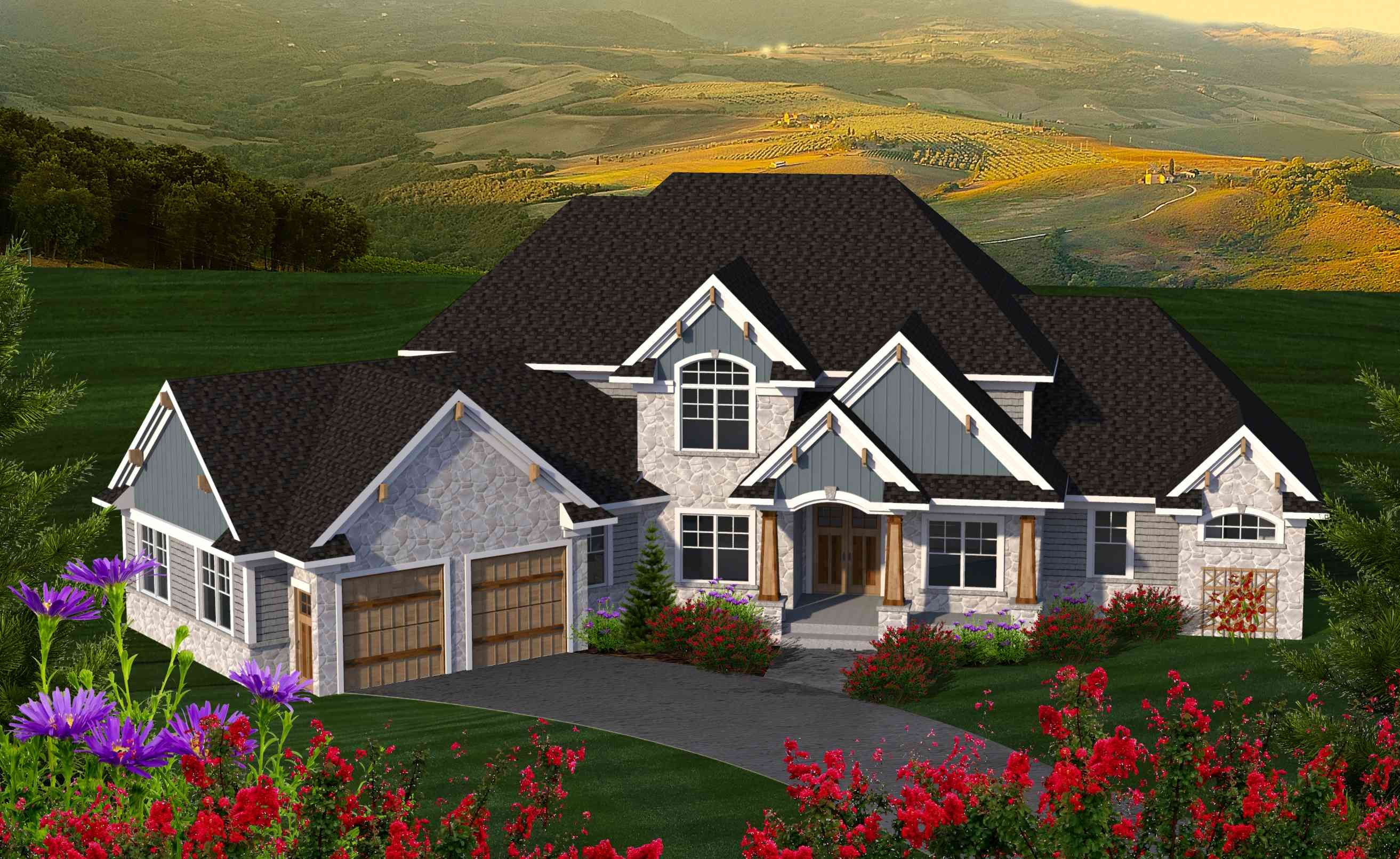 4 Bed House Plan with Angled Garage