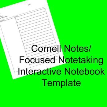 Cornell Notes Interactive Notebook Template Focused Notetaking