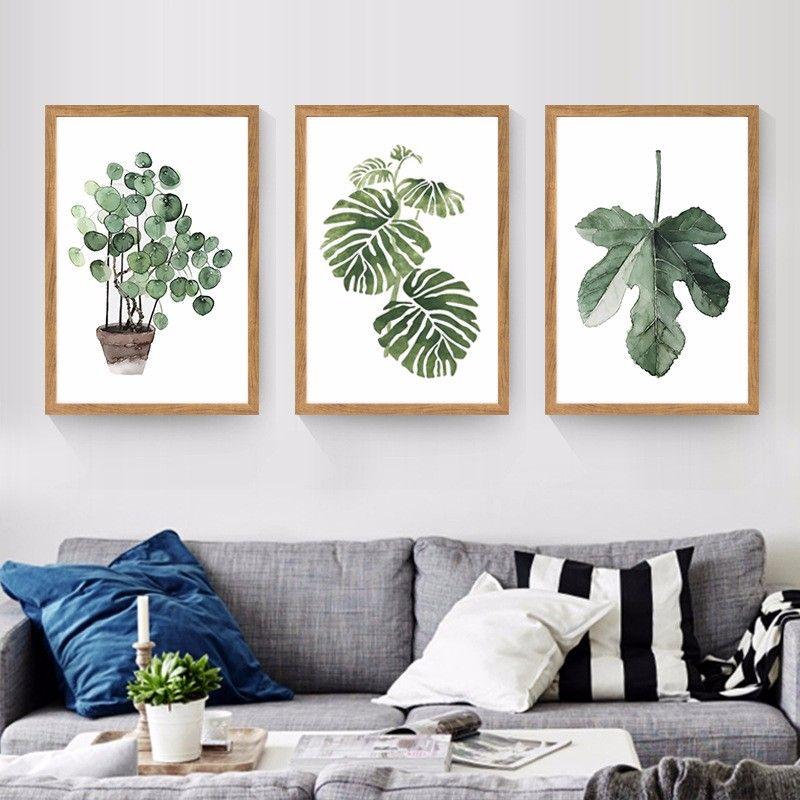 Chaude Aquarelle Plante Tropicale Feuilles Toile Art Print