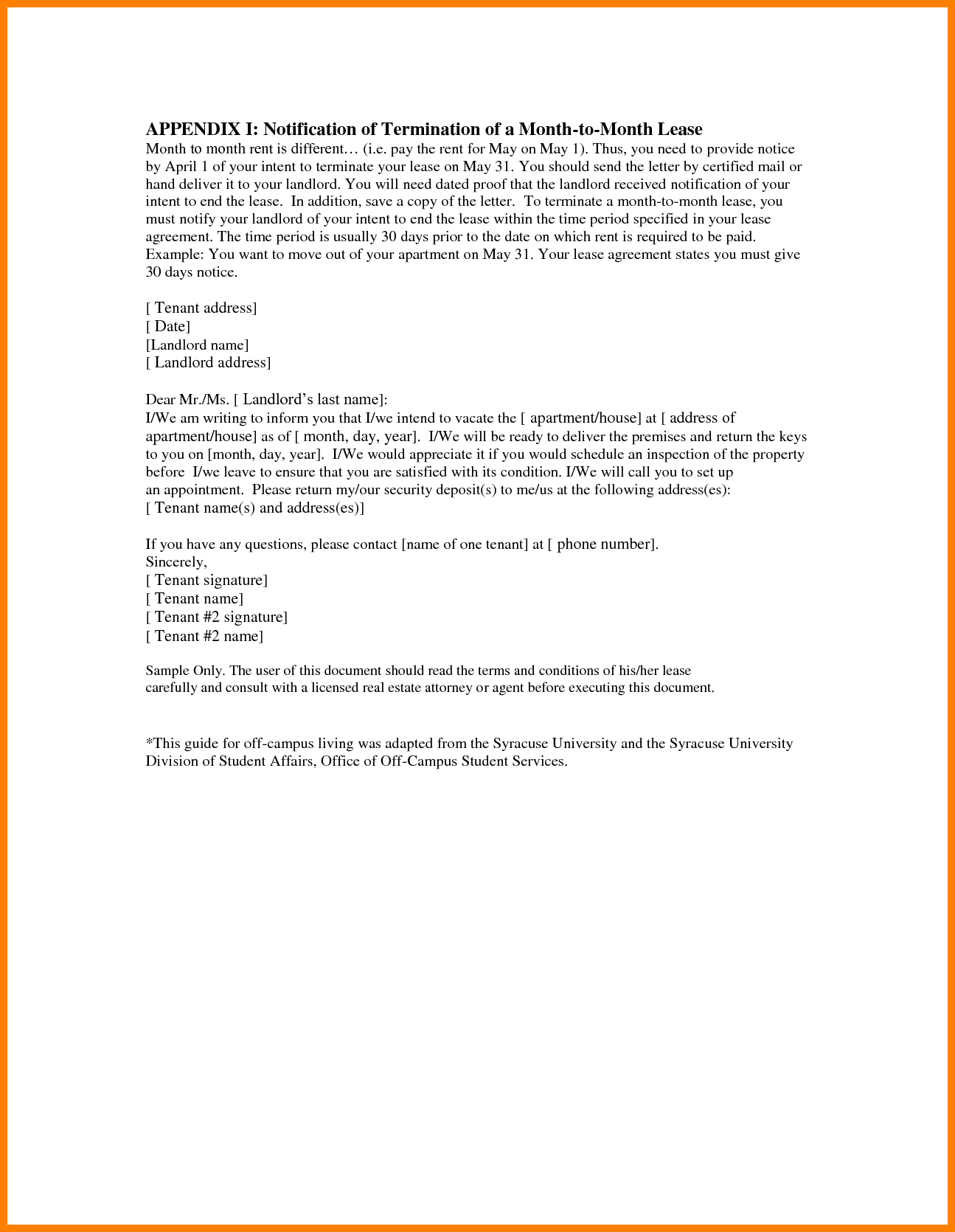 Legal Contract Cancellation Letter Lease Termination Commercial