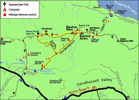Appalachian Trail New England Map.Mount Bigelow Avery And West Peak Trail Map South Horn The Horns