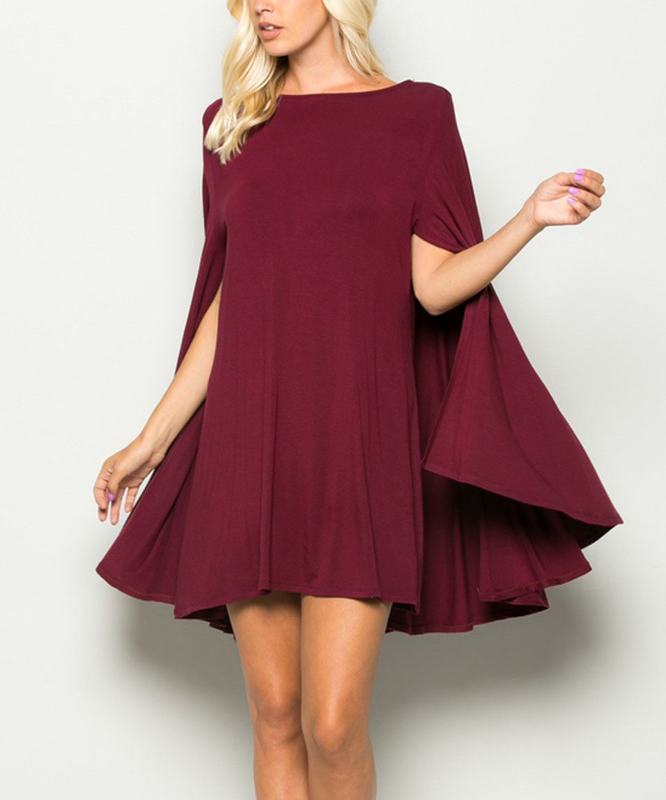 Look what I found on #zulily! Burgundy Cape-Sleeve Dress by ...