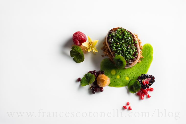 Frances Cotonelli Seared Foie Gras with Rye and Summer Berries