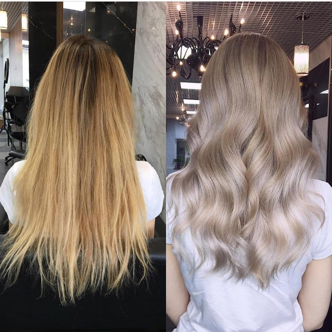 Vefore And After Wella Toner T14 Is Amazing Light Ash Blonde