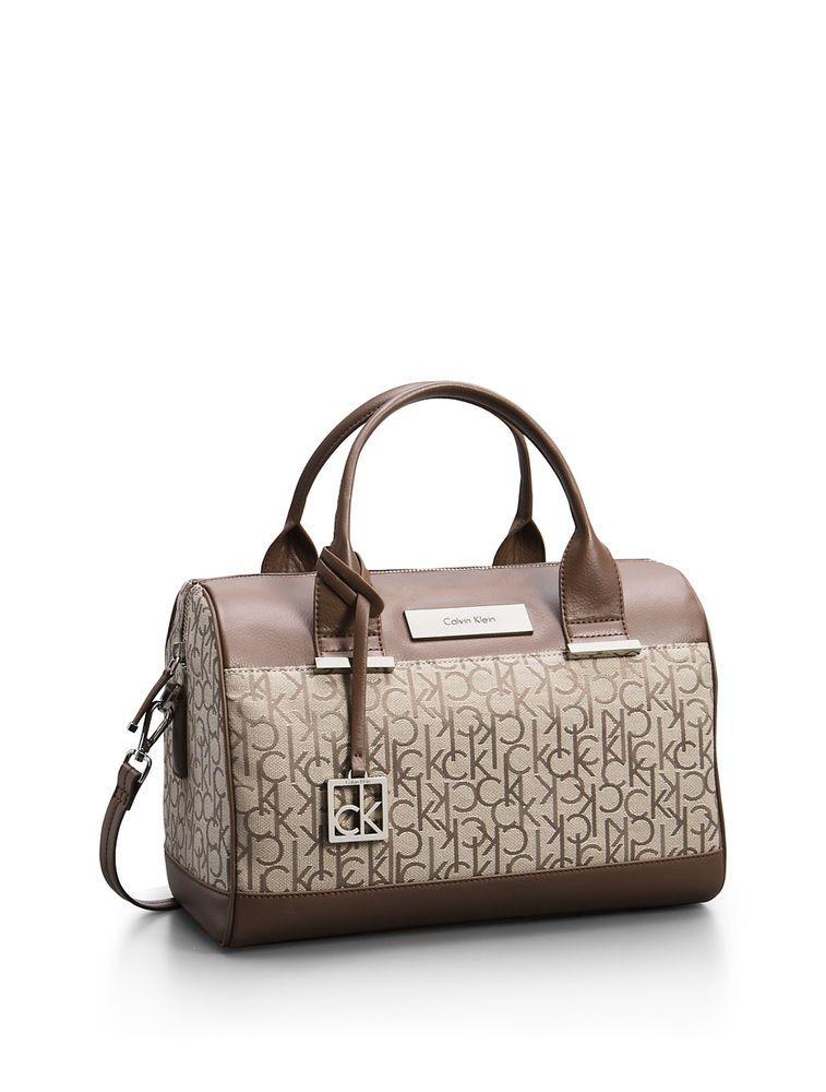 Calvin Klein Logo Jacquard Sleek Barrel Satchel Bag Handbag Calvinklein