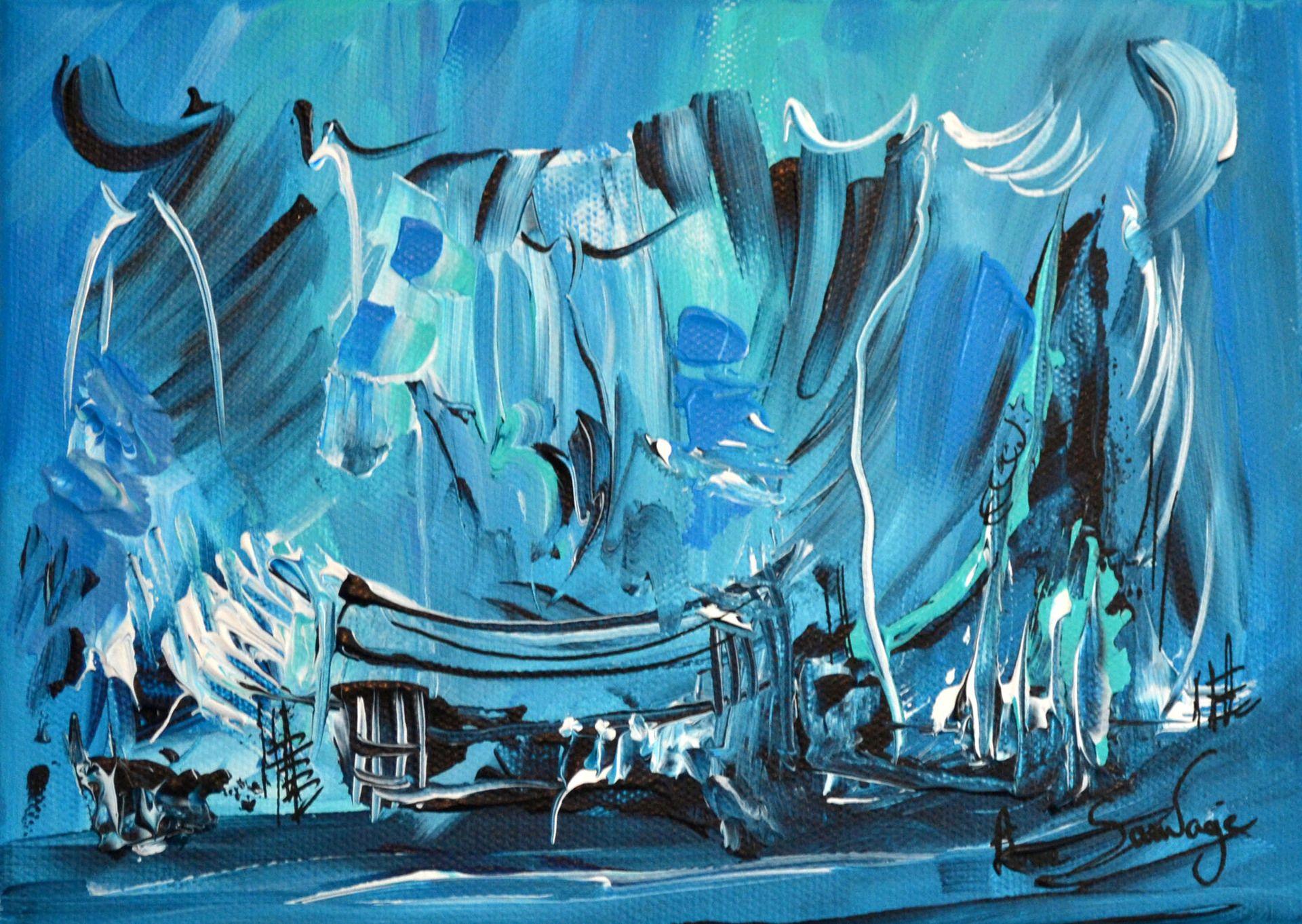 tableau abstrait contemporain bleu