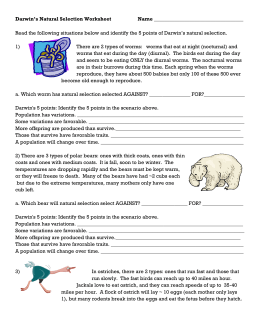 Darwin S Natural Selection Worksheet Natural Selection Reading Worksheets Worksheets