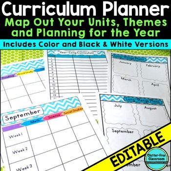 Curriculum Planning Calendar Templates Editable Maps Pacing