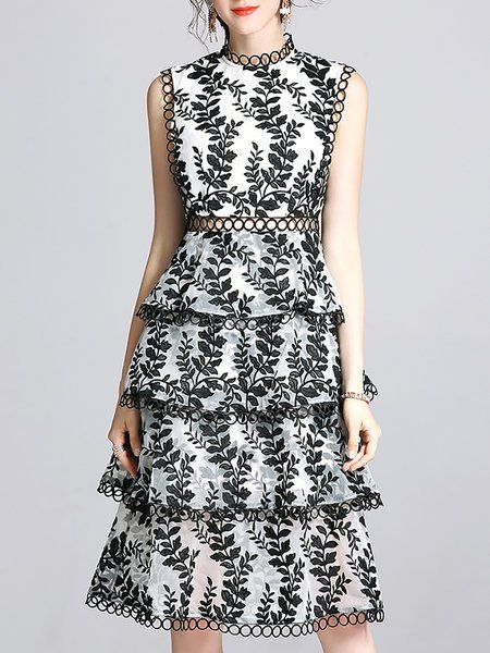 Shop Midi Dresses -  Tiered Embroidered Statement Dress online. Discover unique designers fashion at StyleWe.com.