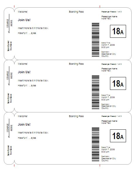 Boarding Pass Invitation  SaveTheDate Template  Basic  Other