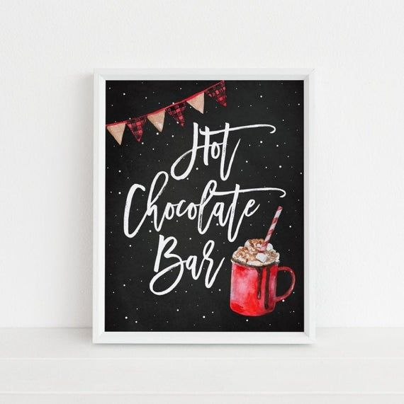 Hot Chocolate Bar Printable Sign, Hot Cocoa Christmas Party Print, Holiday Home Decor, Wall Art Deco #hotchocolatebar