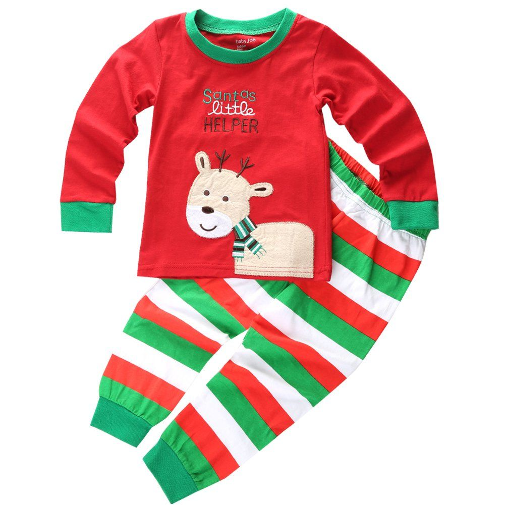 mowmee toddler kid boys girls christmas pajama t shirt long pants red 100 see