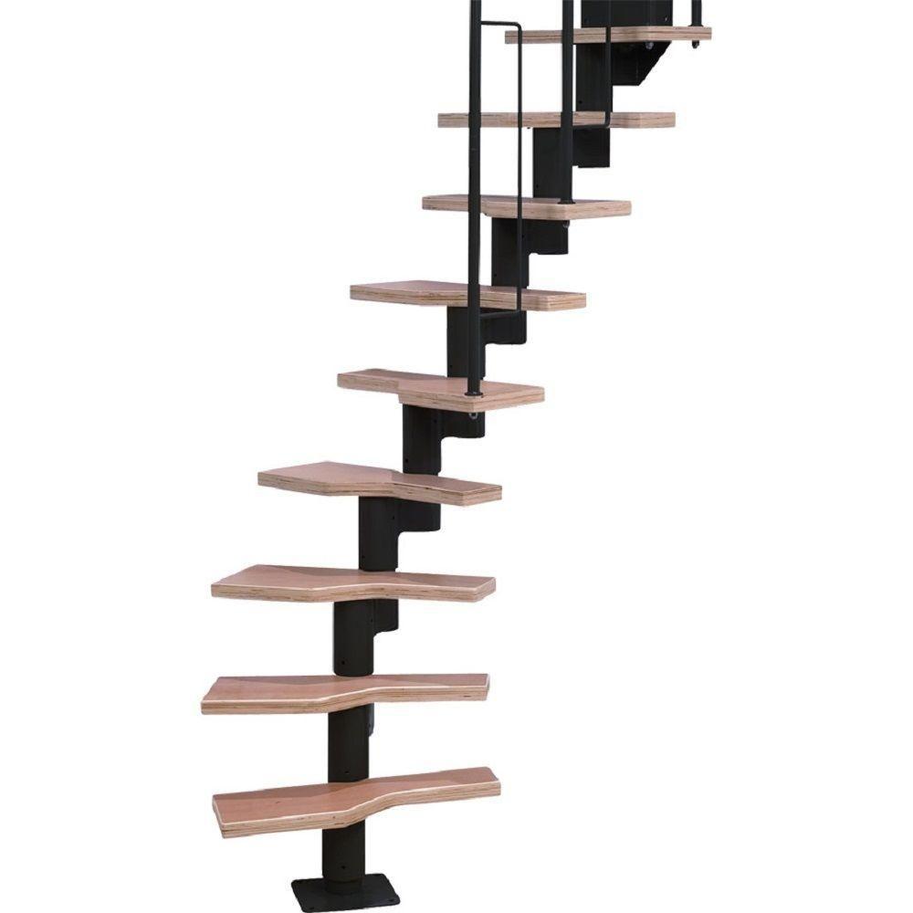 Attic · Dolle Graz 23 In. Black Modular 12 Tread Stair Kit
