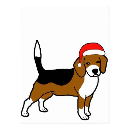 Beagle With Santa Hat Holiday Postcard Zazzle Com Beagle