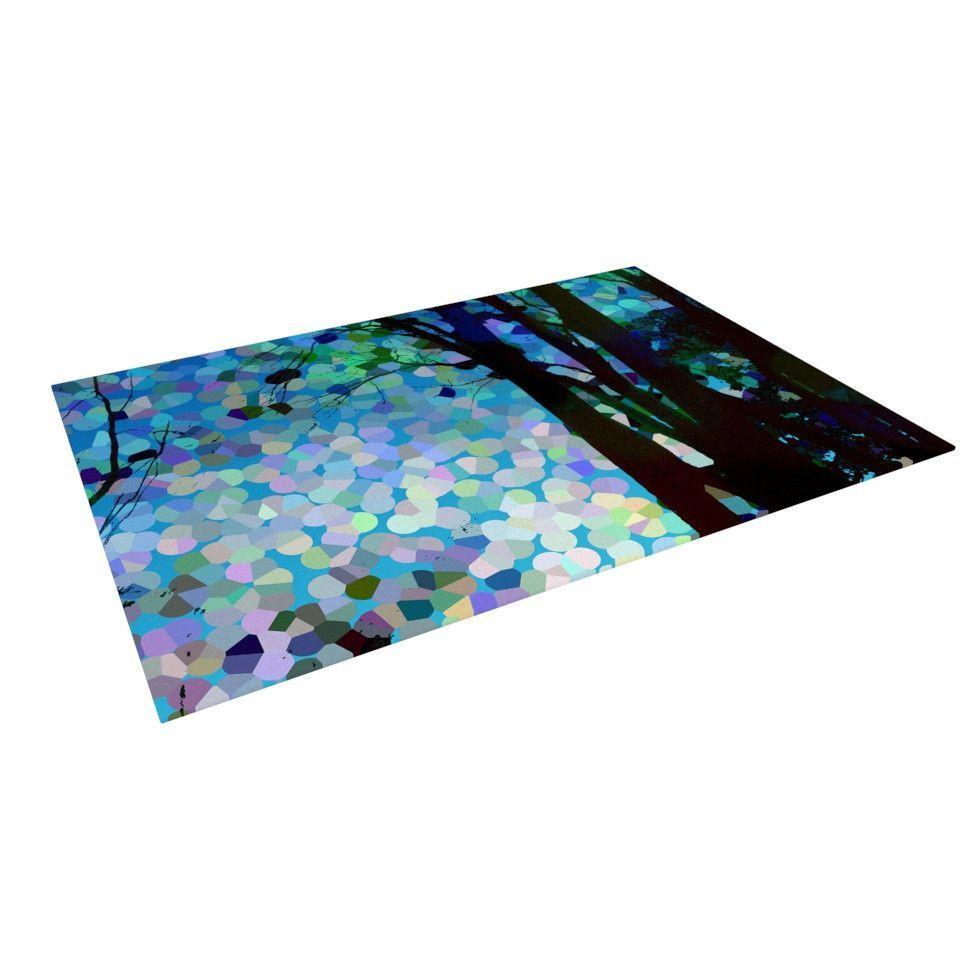 "Catherine Holcombe ""Blue Raspberry Jellybean"" Blue Geometric Indoor / Outdoor Floor Mat"