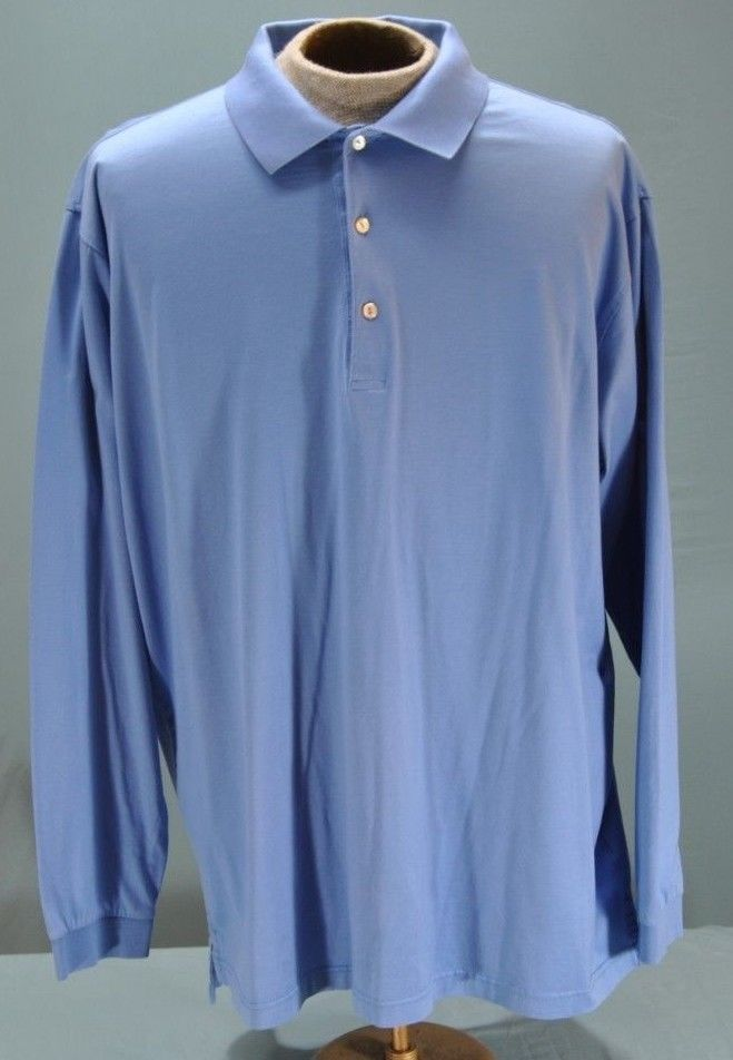 87f18cf33fe Peter Millar Sz 2XL Summer Comfort Blue Solid Long Sleeve Golf Polo Shirt  Cotton  PeterMillar  PoloRugby