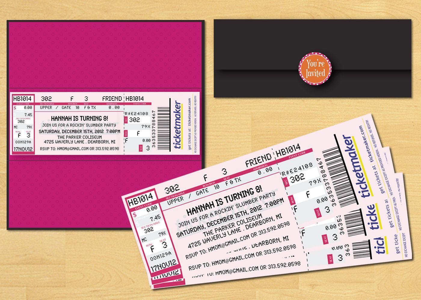 Slumber Party Ticket Invitation Printable Movie Night or Rock Star ...