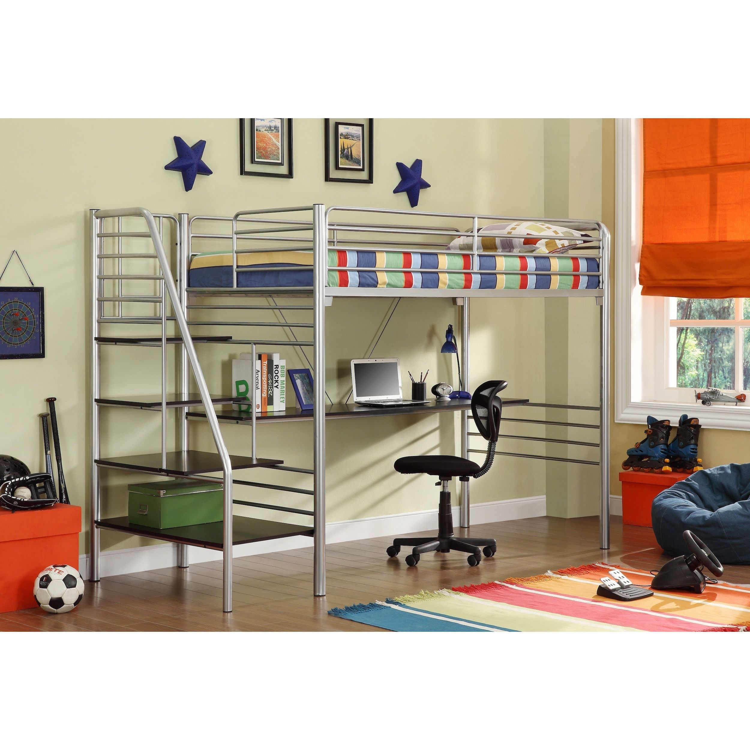 and size ladder kitchen bed with com dp amazon dhp metal desk loft silver abode full frame dining
