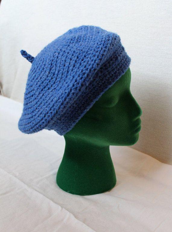 Chapeau de béret bleu ciel bleu béret, béret au Crochet,