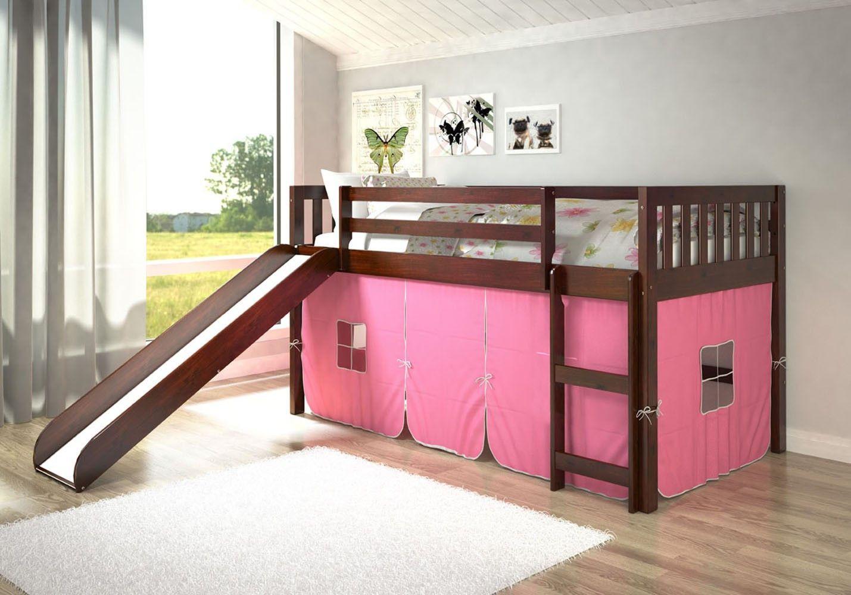 Chloe Low Loft with Slide & Pink Tent Low loft beds, Bed