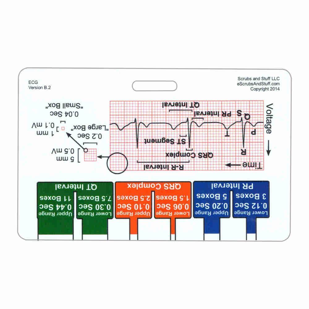 Ecg ruler diagram horizontal badge card medical assistant an ekg ruler basic caliper and ekg diagram on waterproof plastic id card that pooptronica Images