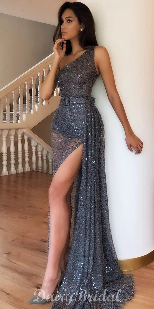 Sparkly Sequin Tulle One Shoulder Sexy High Slit Prom Dresses, FC4071