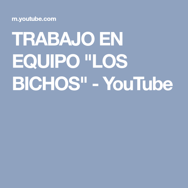 """TRABAJO EN EQUIPO """"LOS BICHOS"""" - YouTube"""