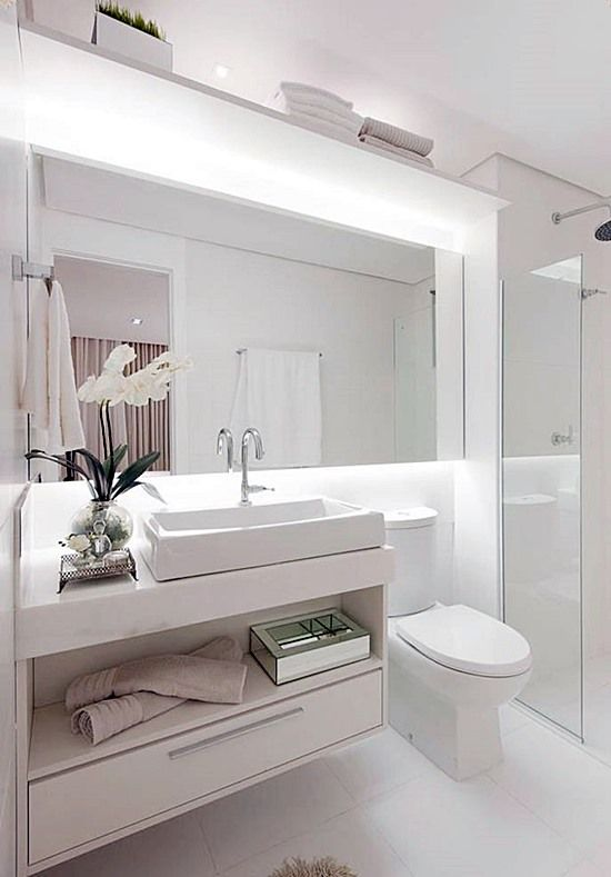 20 banheiros e lavabos pequenos e claros  Banheiro  Pinterest  Decoration # Banheiros Claros Decorados