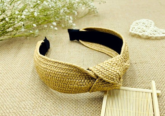 Beige straw weaving Knotted headband,headbands for women,bohemian headband,Wide Headband ,stylish fashion hairband,Alice band,Lafite grass