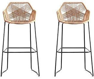 Bar Chair Rattan Chair Bar Stool High Stool Home Back Dining Chair Comfortable Simple and Beautiful Counter Chair (Size: 65cm) (Color : Brown, Size :  2-Two Loaded)
