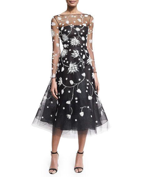 Embroidered Illusion Tulle Midi Dress, Black/White