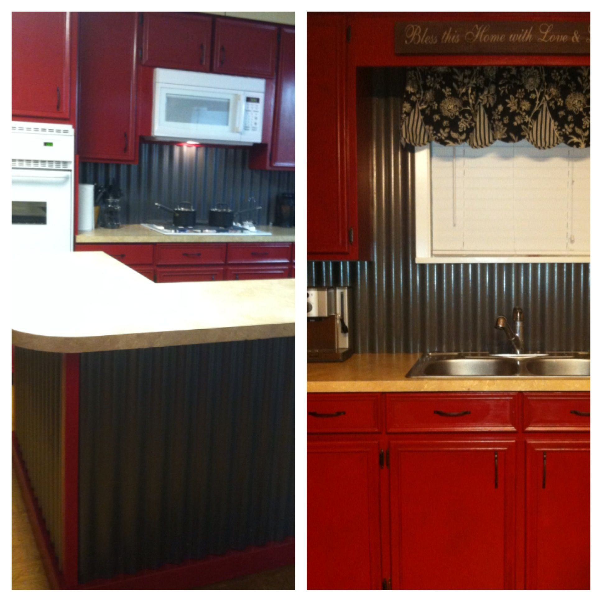 amazing Barn Red Kitchen Part - 11: Corrugated tin backsplash u0026 island w- barn red cabinets. Our DIY kitchen  re-do. Love!