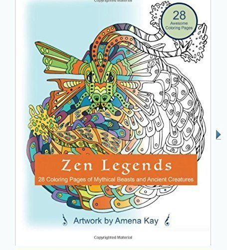 Zen Legends Coloring Book Spiral Bound On High Quality Thick Paper