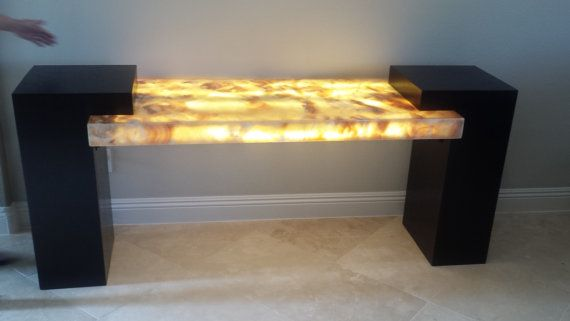 Led Lit Honey Onyx Console Table With Wenge Di