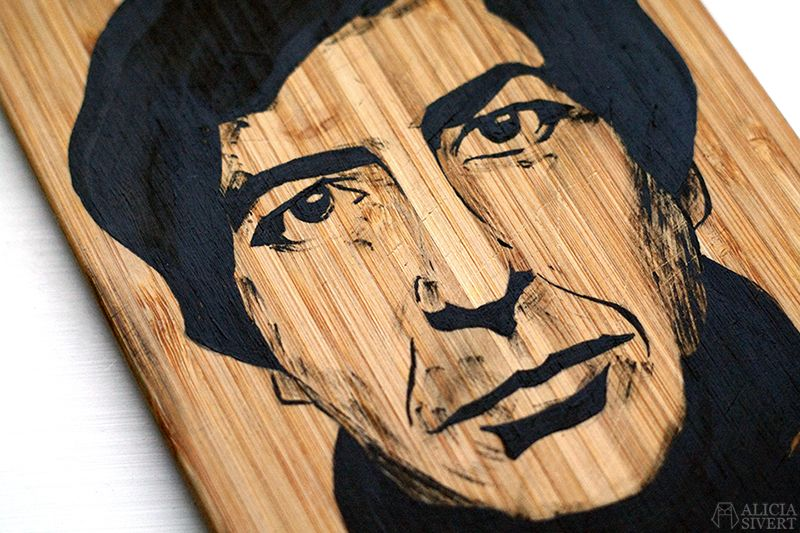 Leonard Cohen (detail), painting by Alicia Sivertsson, 2016. Acrylics on wood.