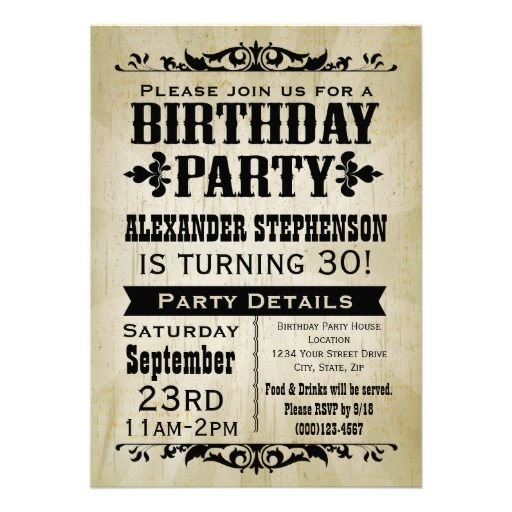 Rustic Vintage Country Birthday Party Invitation – Country Party Invitations
