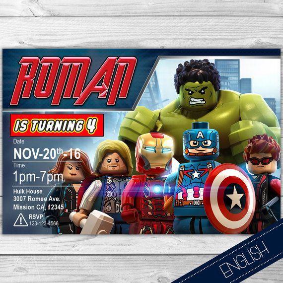 Lego Avengers Invitation Invite Printable Birthday 7th Stuff