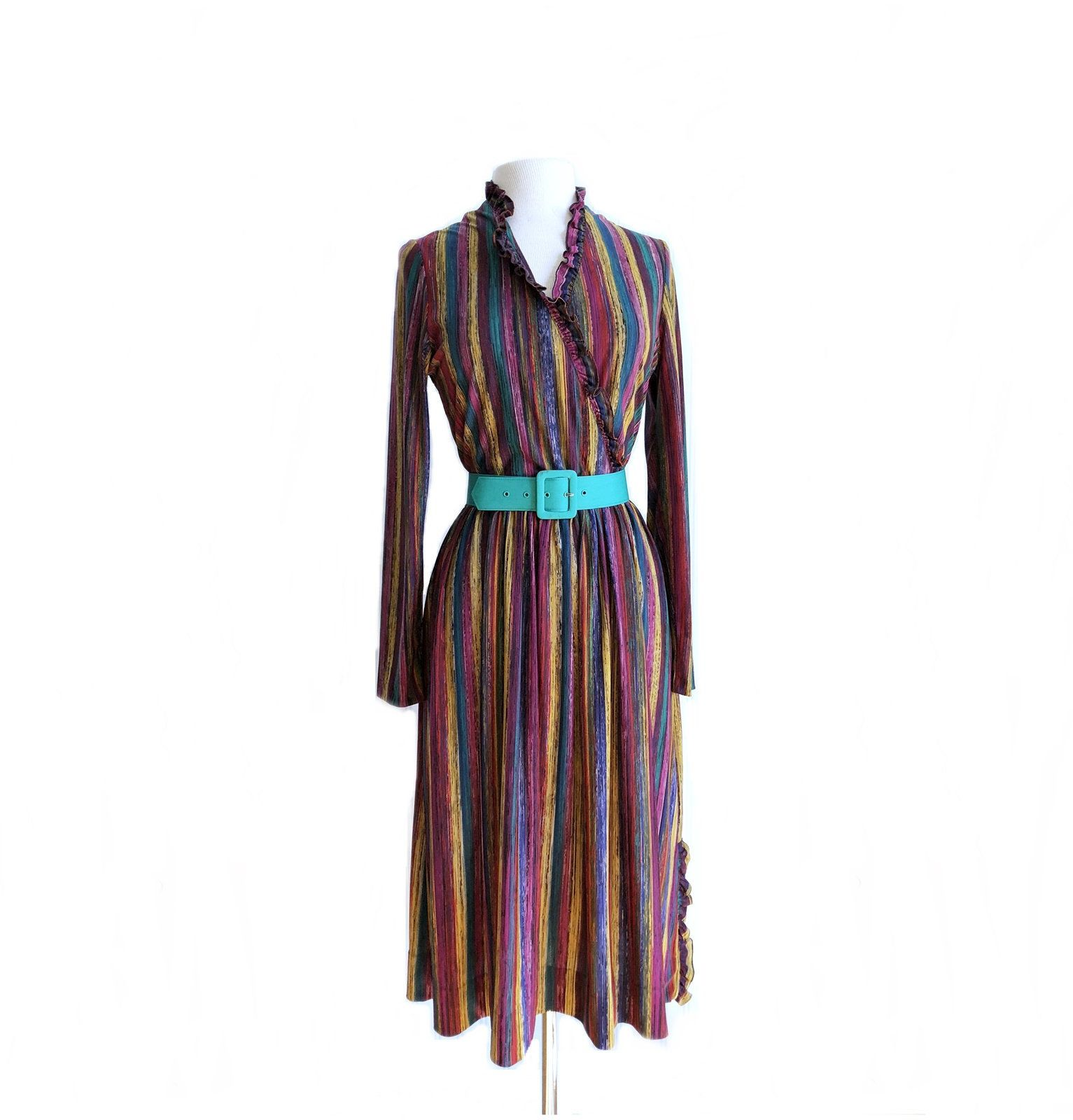 Vintage s psychedelic rainbow dress long sleeve multi color dress