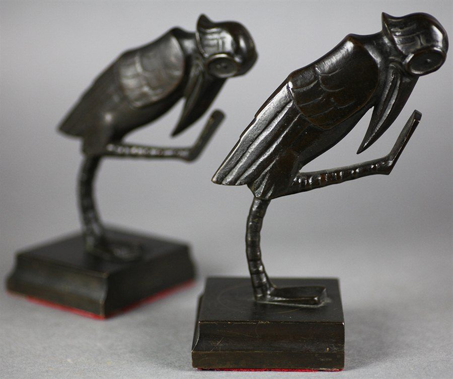 Strikingly Idea Bird Bookends. RARE PAIR GERMAN ART DECO FvM BRONZE GROTESQUE BIRD BOOKENDS c 1920