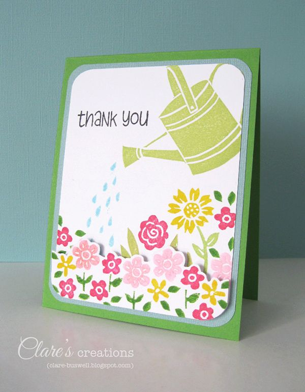 Hand-carved watering can and water stamps! #handcarvedstamps, #florals, #stamping
