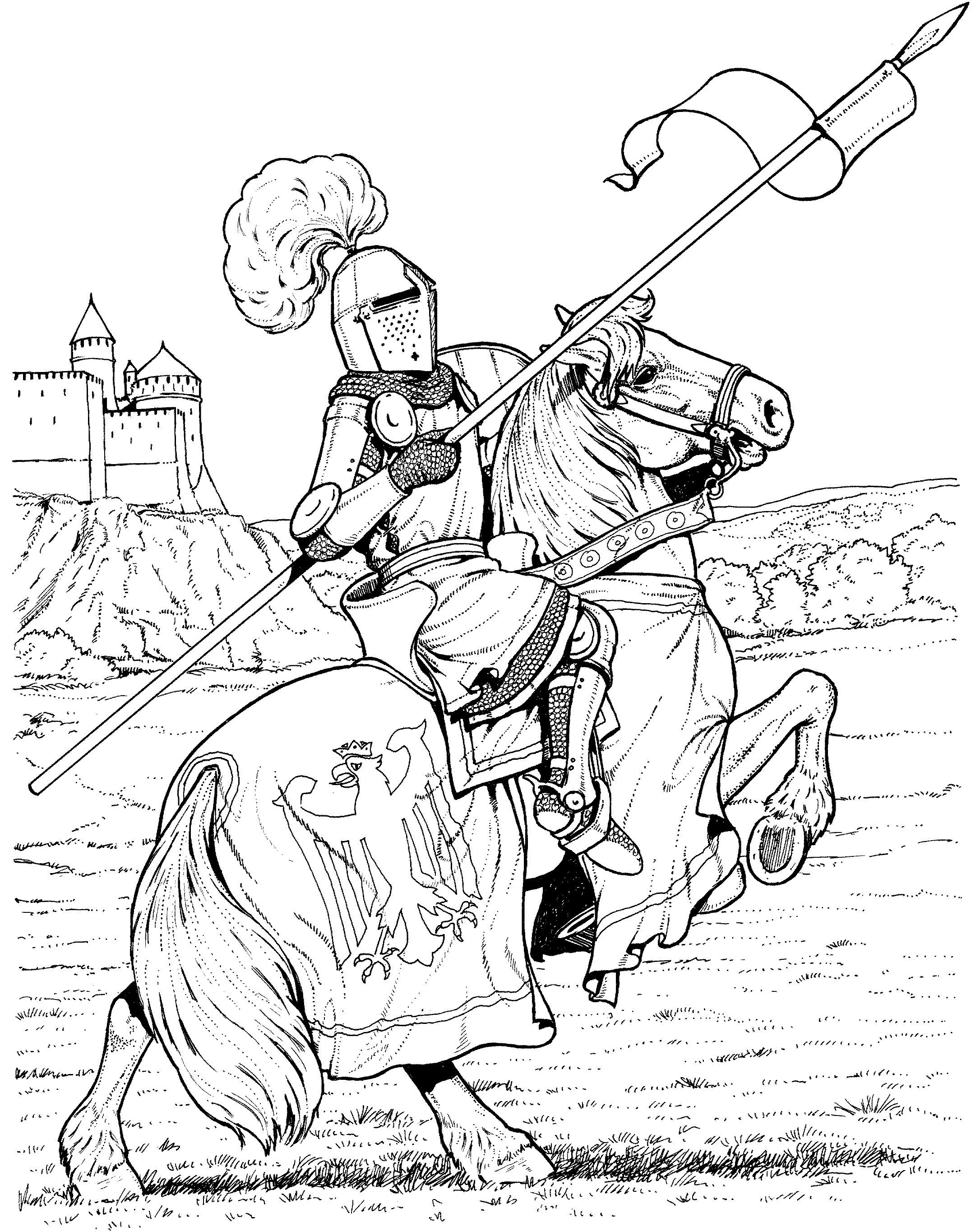 Knights Guard The Castle | Horse coloring pages, Cartoon ...