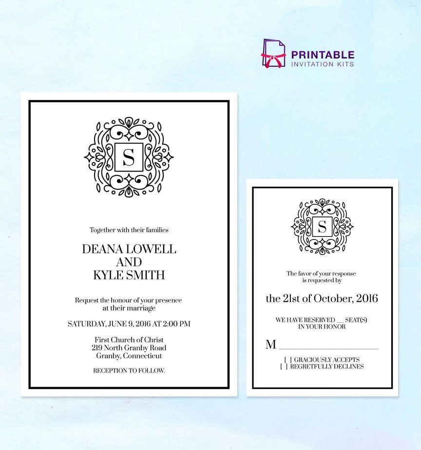 Print Wedding Invitations At Home: FREE PDF Stately Monogram Wedding Invitation Templates