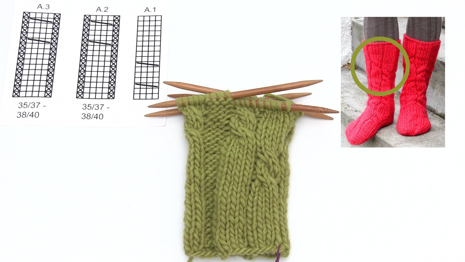 How to knit the cables for the Christmas socks in DROPS Extra 0-1331 ...