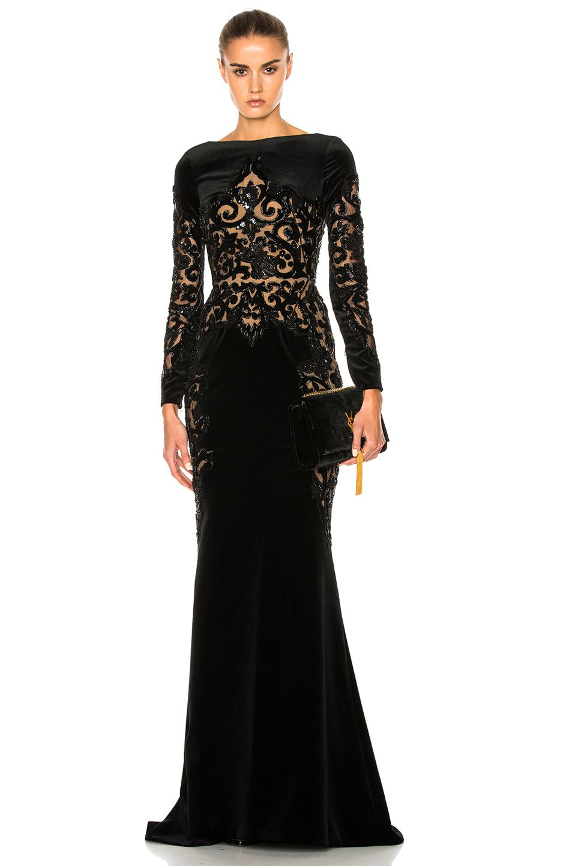 Zuhair murad embroidered velvet dress in black zuhair murad